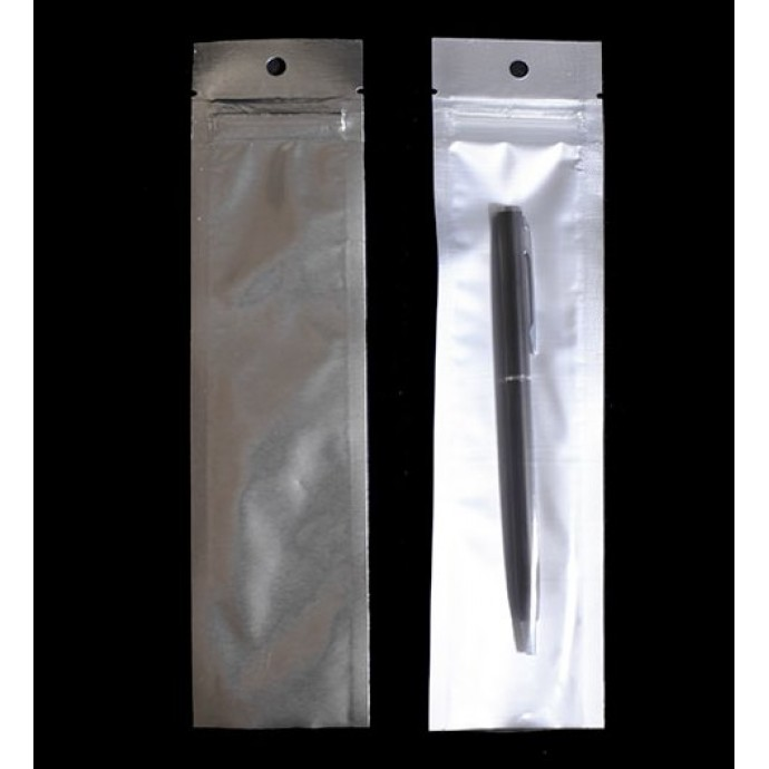 """2"""" x 8"""" OD Clear/Silver Pouch with ZipSeal; (1,000/Case) - 02VST08ZTEHH"""