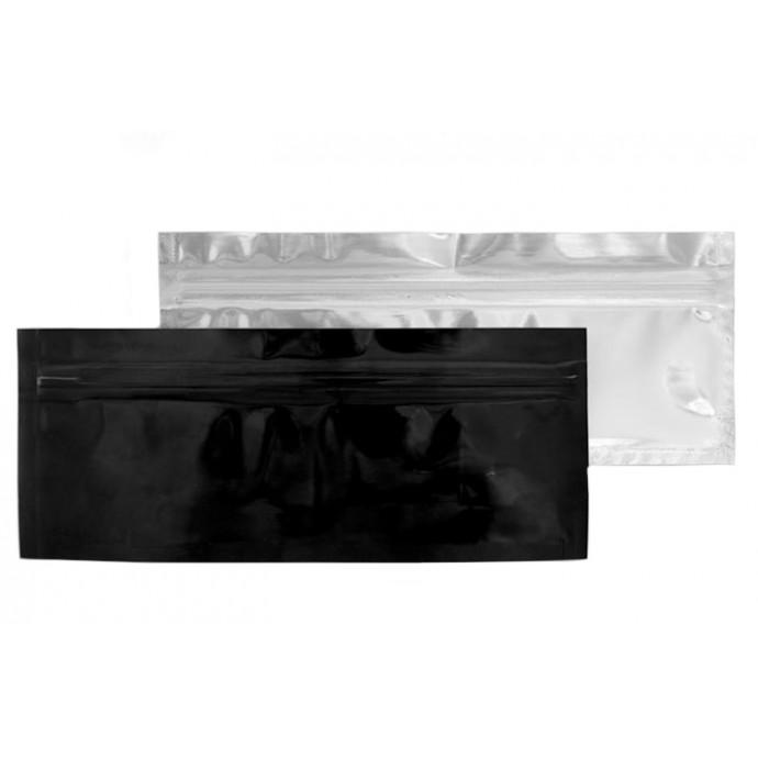 "6.75"" x 2.75"" OD Clear/Black Open Zipper End Bag (1,000/case) - 0675VSTBLK0275OZE"
