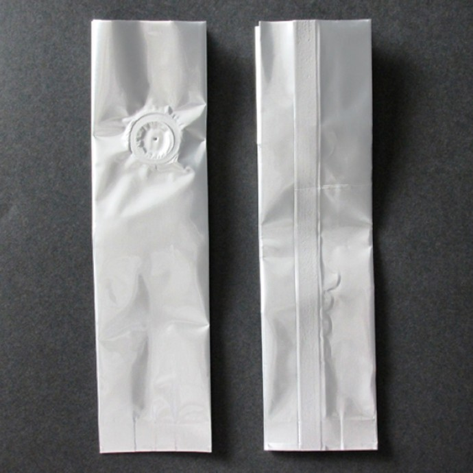 2OZSIV - 2 ounce silver Mylar Foil side gusset bag with valve; (1000/case)