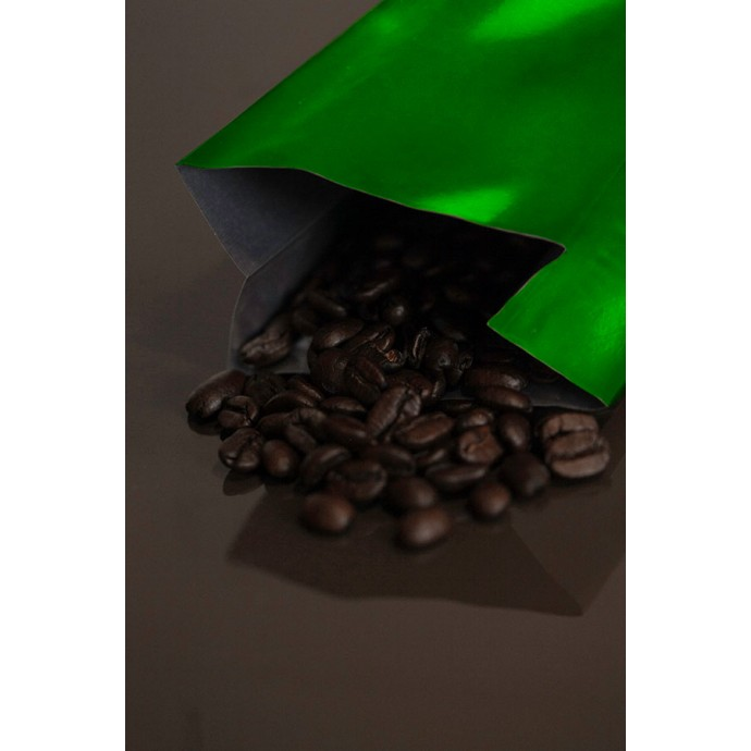 2OZGR - 2 ounce green MylarFoil coffee bag without valve; (2,000/case)