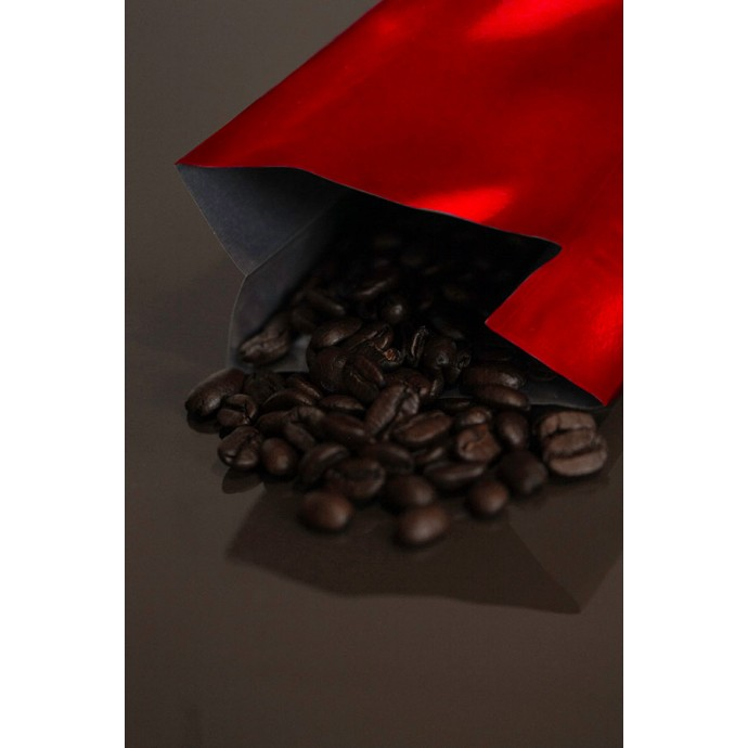 2OZRE - 2 ounce red MylarFoil coffee bag without valve; (2,000/case)