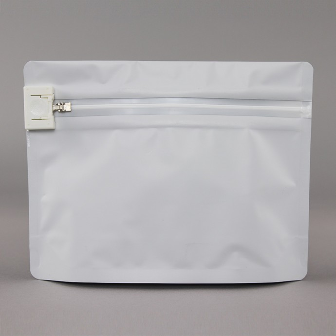 "ZCR0806WG3: 8.0"" x 6.0"" x 2.36"" O.D. White PharmaLoc™ stand up pouch with child resistant ZipSeal; 250/case"