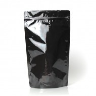 "6.69"" x 11"" x 3.5"" Black Mylar Foil Stand Up Pouches; (1,000/case) - DBB035ZRC"