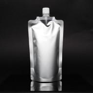 """FTSSP500CSISL - 5.0"""" x 8.625"""" x 3.125"""" Silver Stand Up SpoutPak™ Pouch w/ 16mm Spout (500/case)"""