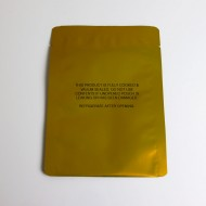 Gold 5.75 x 8.0 OD three side seal pouch with tear notch, Printed; 1,000/case - 0575PCA54MG08TNP