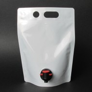 SP15L75M:  1.5L White Stand Up Barrel Pouch with Tap Spout (250/case)