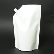 """SP1LBW:  6.5"""" x 10.5"""" x 4.0"""" 1 liter White Stand Up Pouch w/ 9.1mm Sealed Spout Cap (250/Case)"""