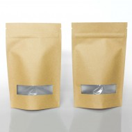 "BNK025ZWD - 5"" x 8"" x 2.5"" OD Kraft MylarFoil Stand Up pouch with ZipSeal and TearNotch (1000/case)"