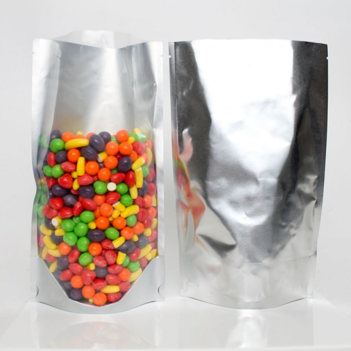 """5"""" x 8"""" x 3"""" OD Clear/Silver Stand Up Pouch (1,000/case) - BVS03"""