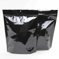 "9"" x 12"" x 3"" Black Stand Up Pouch with K-Seal Bottom Gusset; (500/case) - CUSP03Z"
