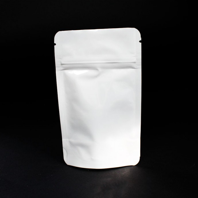 "3.125"" x 5"" x 2"" White Mylar Foil Stand Up Pouch; (1000/case) - AAW01ZRC"
