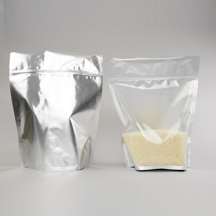 """11"""" X 13.5"""" X 6"""" OD Clear/Silver Stand Up Pouch with 2.5"""" Header; (250/Case) - GRVSL06Z"""