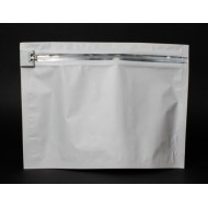 "ZCR122509W:  12.25"" x 9"" x 4"" OD Child Resistant ZipSeal White Pouch (50 Bags)"