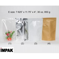 "7.625"" x 11.75"" x 4"" OD Clear Stand Up Pouch; (500/case) photo# 1 - EMP04ZRC"