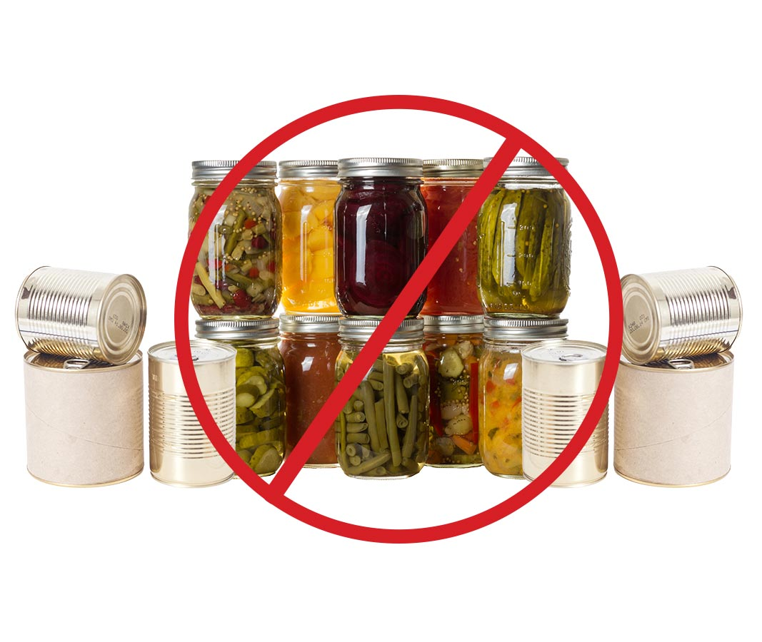 no cans or jars
